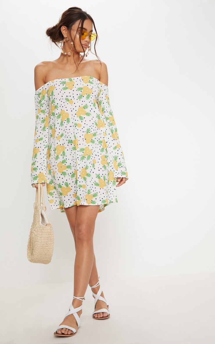 White Pineapple Print Bardot Flare Sleeve Smock Dress 1