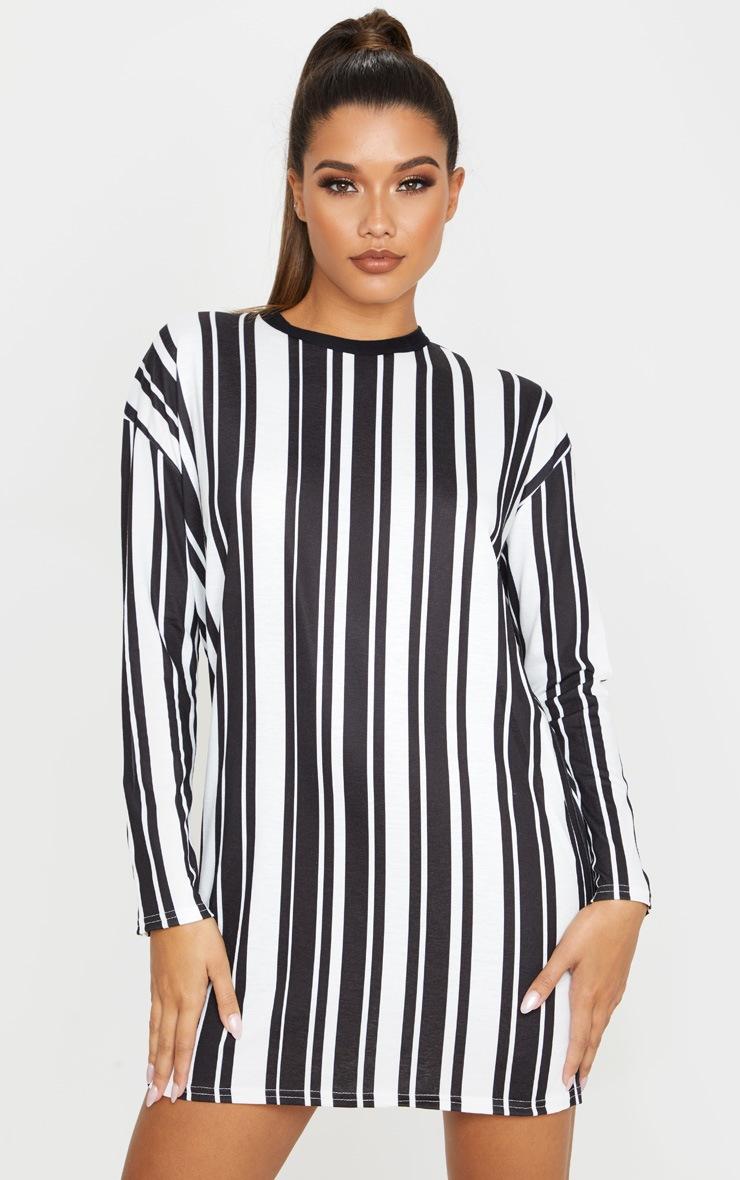 Monochrome Contrast Stripe Long Sleeve T Shirt Dress by Prettylittlething