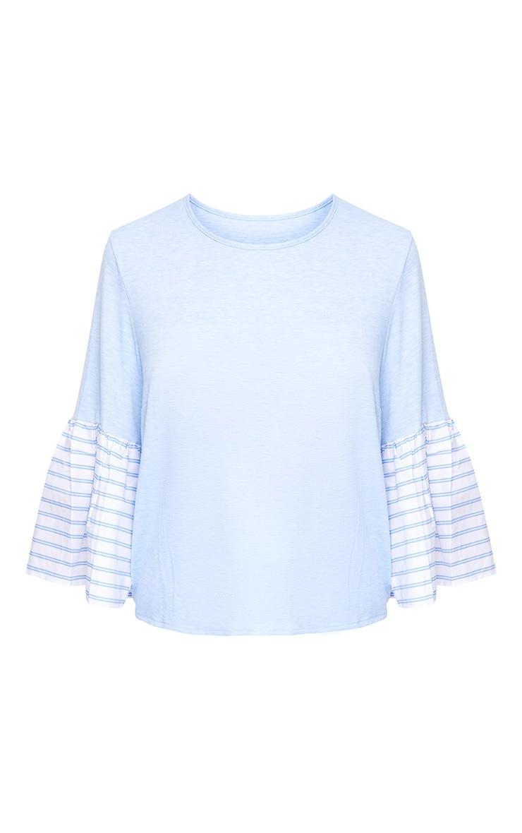 Baby Blue Stripe Frill Sleeve Jersey T Shirt 3
