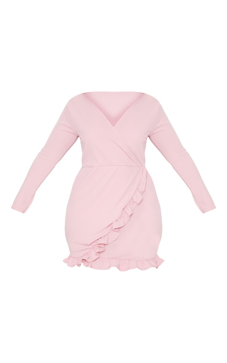 Plus Dusty Pink Long Sleeve Ruffle Wrap Dress 3