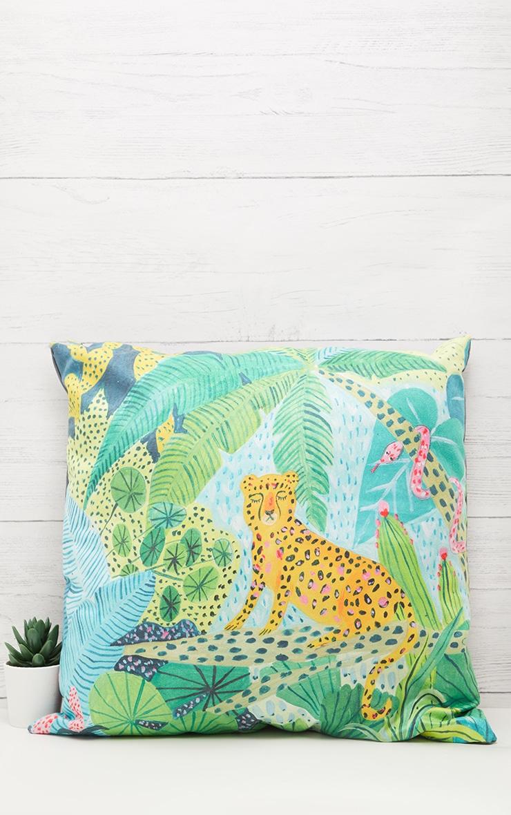 Green Jungle Leopard Cushion 1