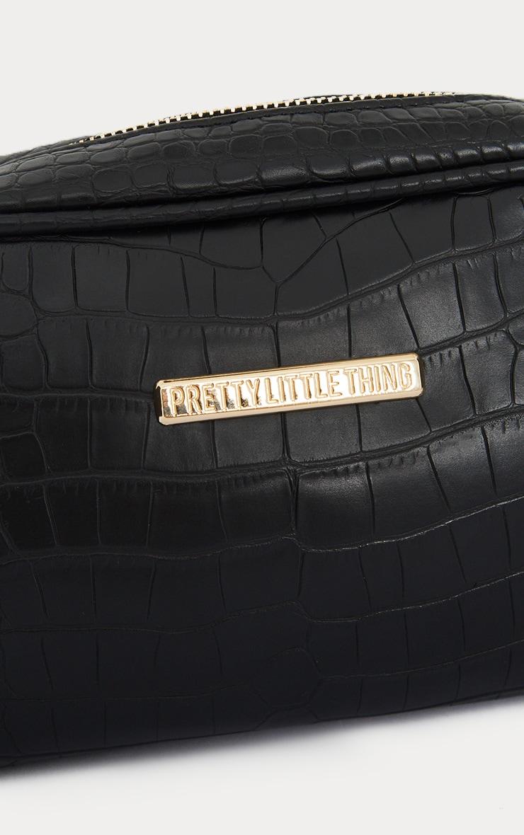 PRETTYLITTLETHING Black Croc Makeup Bag 4