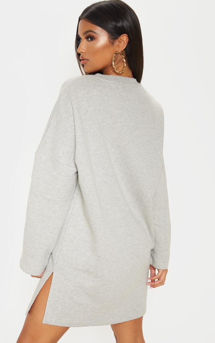 Grey Marl Oversized Side Split Sweat Jumper Dress 2