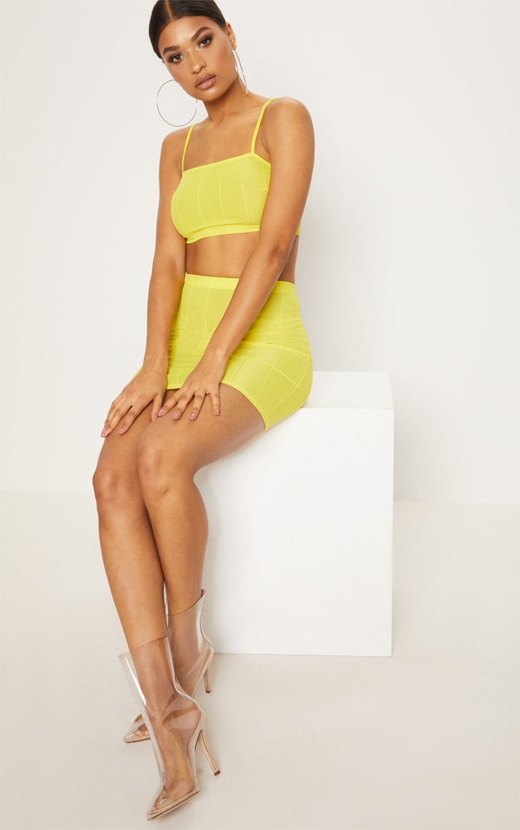 Yellow Bandage Mini Skirt  5