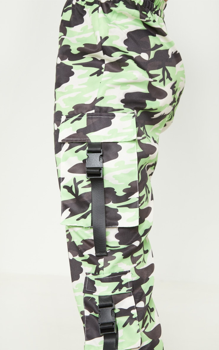 Tall Neon Lime Camo Pocket Detail Cargo Trousers 5