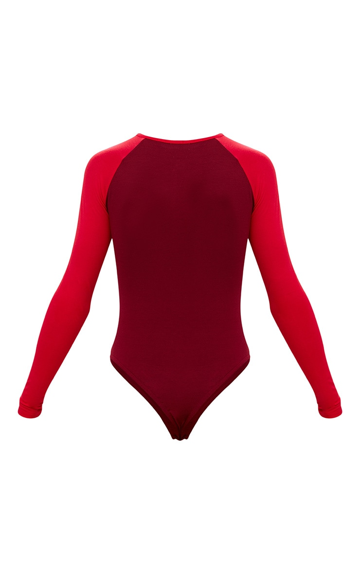 Burgundy Zip Front Contrast Longsleeve Thong Bodysuit 4