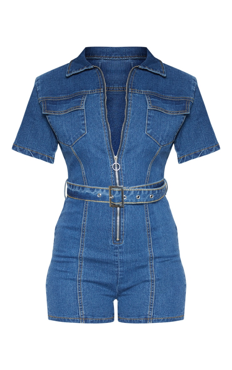 Mid Wash Zip Front Belted Hot Pants Playsuit 3