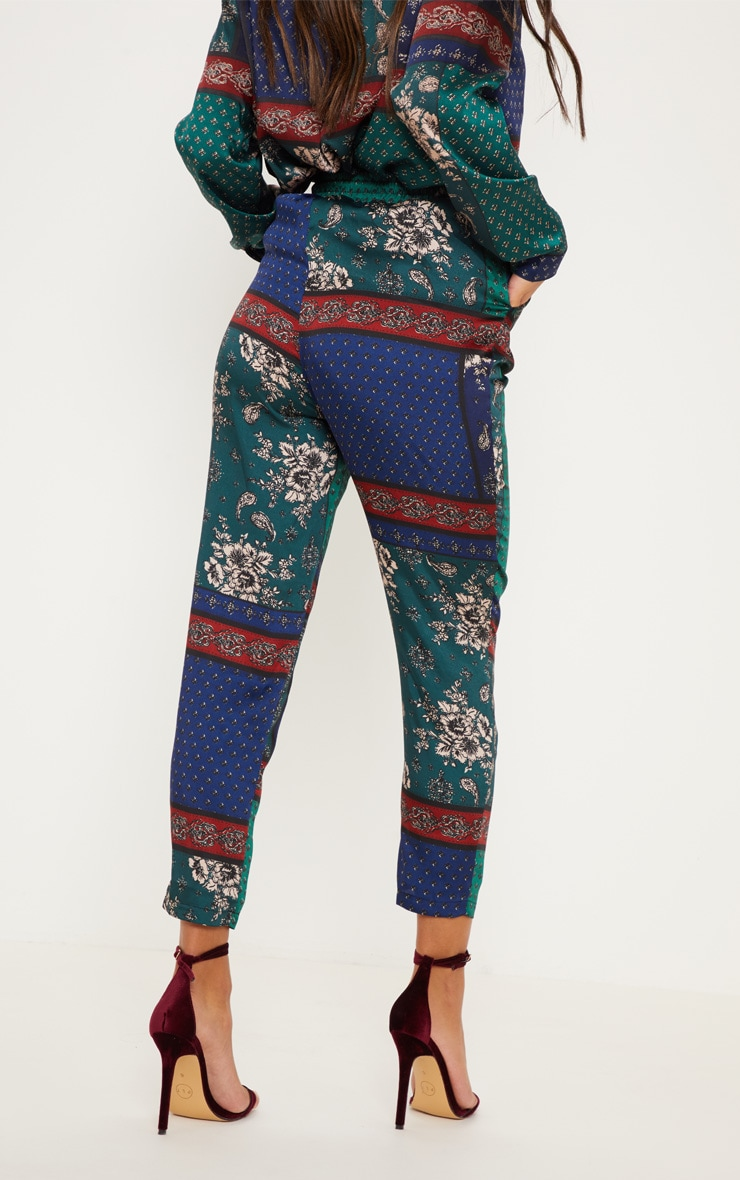 Multi Paisley Print Cigarette Pants 4