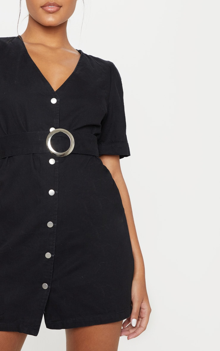 Black Buckle Belt Denim Mini Dress  5