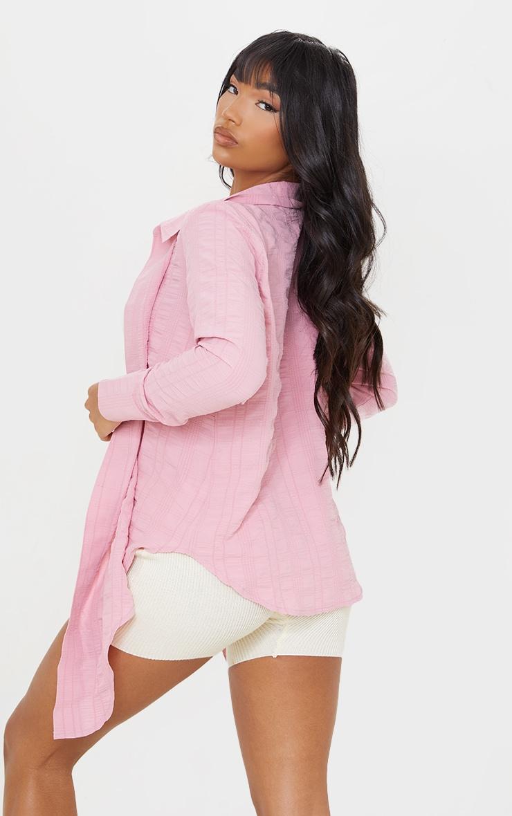 Bubblegum Pink Textured Tie Front Shirt 2