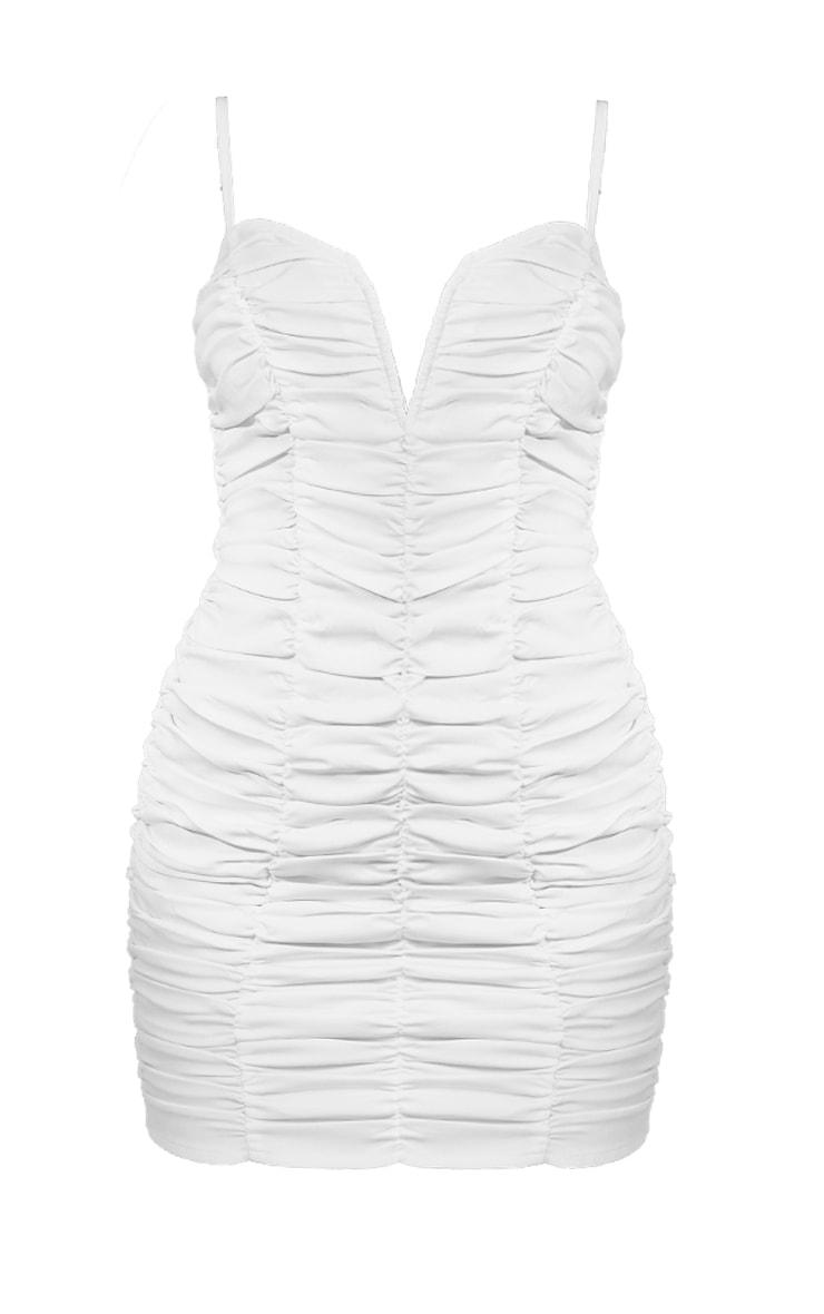 White Ruched Strappy V Bar Bodycon Dress 5
