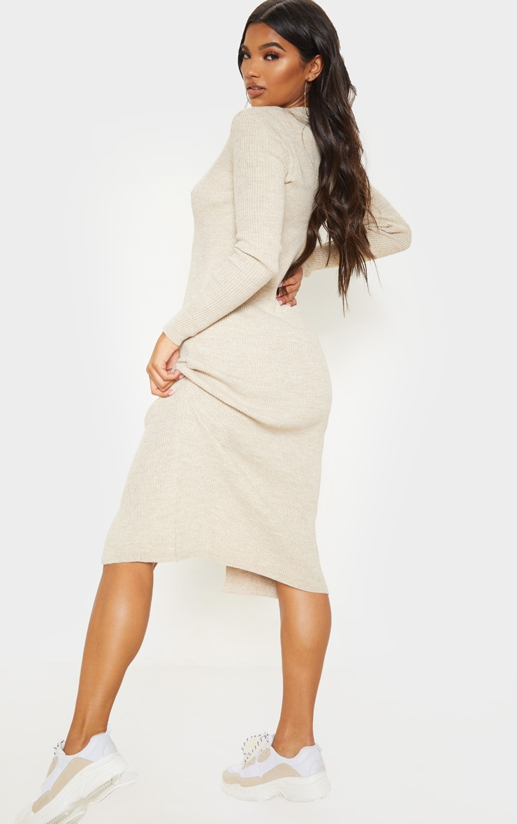 Oatmeal Button Front Knitted Midi Dress 2