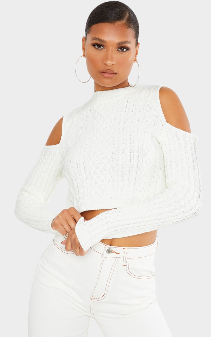 Cream Cable Cropped Cut Out Shoulder Jumper 1