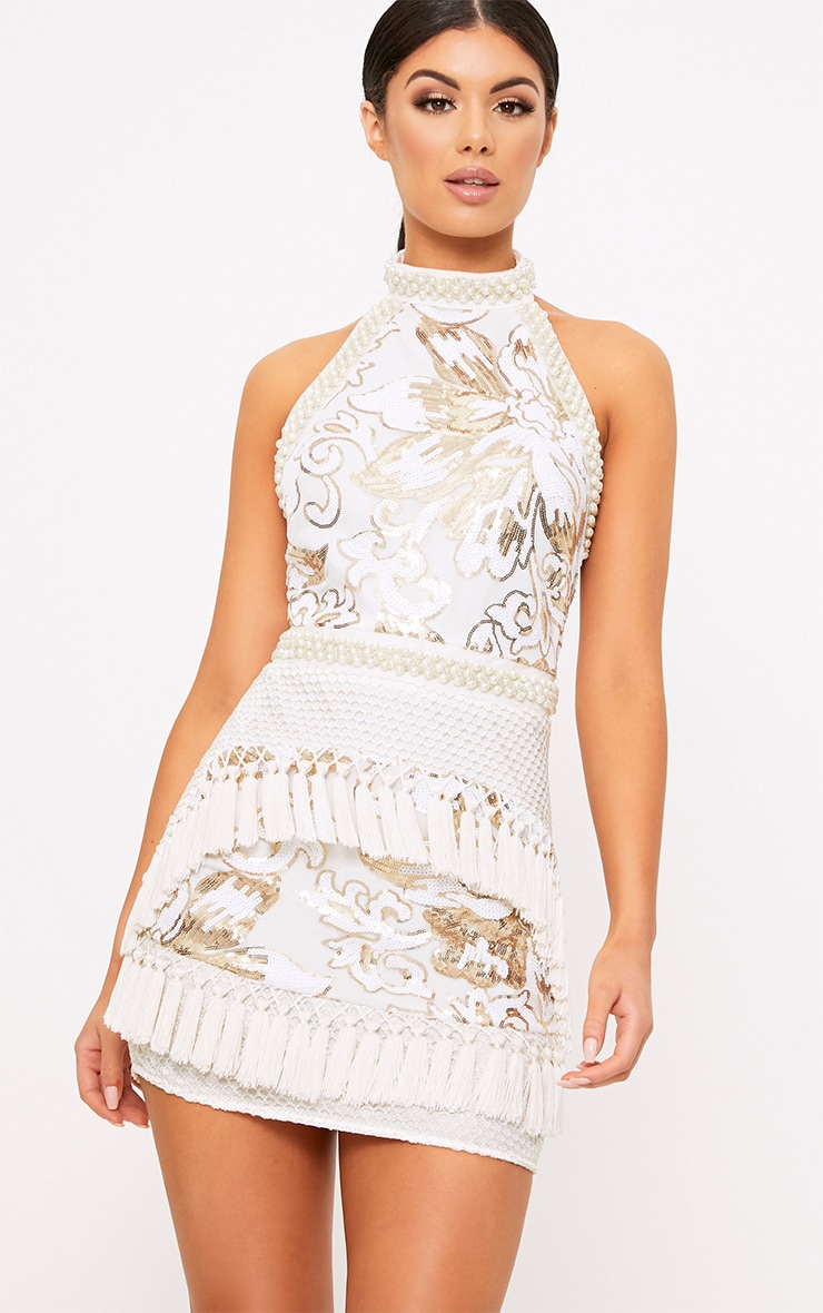 Charlyia White Premium Halterneck Sequin Tassel Bodycon Dress 2