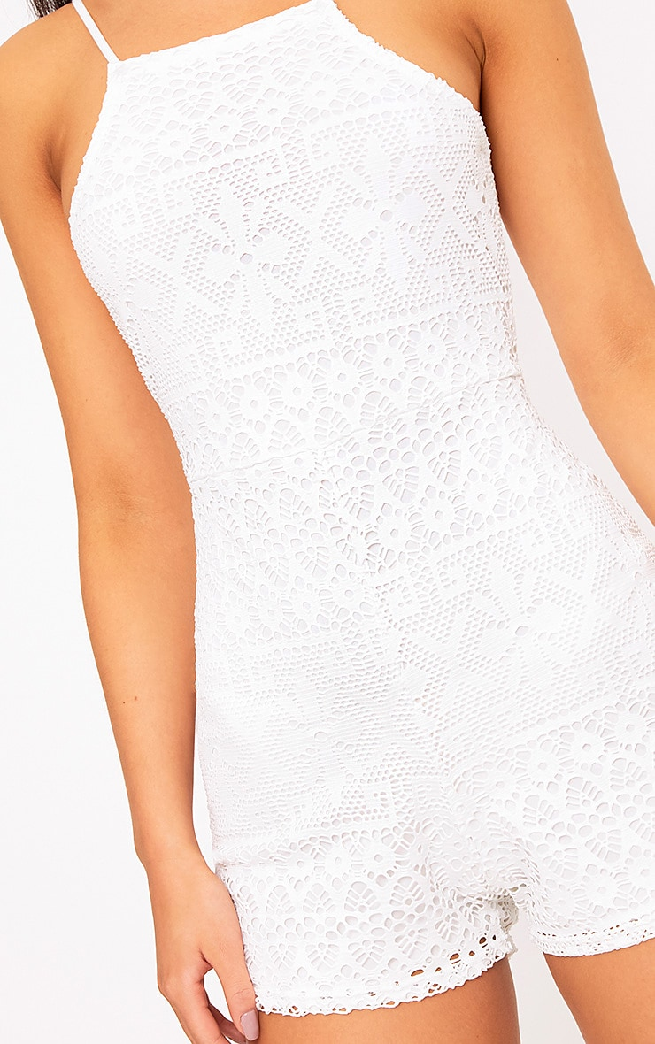 Cream Lace Embroidered 90's Neck Playsuit  5