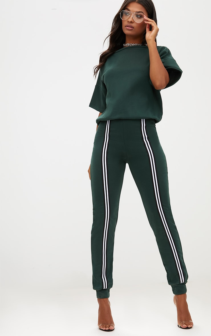 Forest Green  Loop Back Sports Stripe Jumpsuit 1