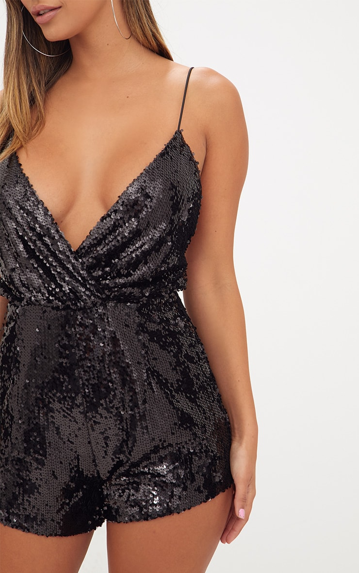Black Strappy Sequin Wrap Romper 5