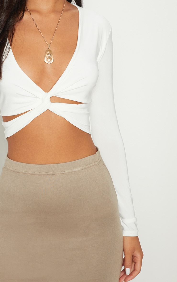 White Slinky Twist Front Long Sleeve Crop Top 5