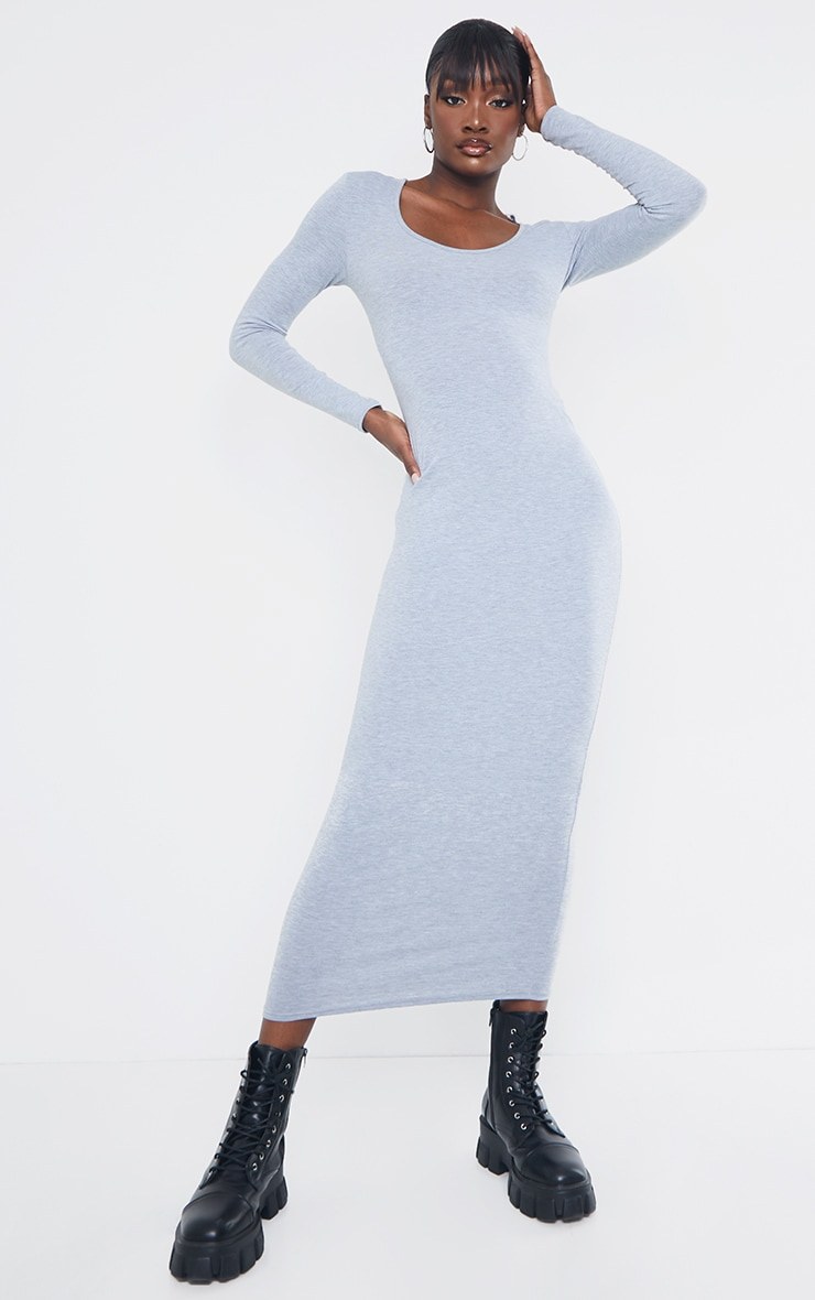 Tall Grey Marl Long Sleeve Jersey Maxi Dress 1