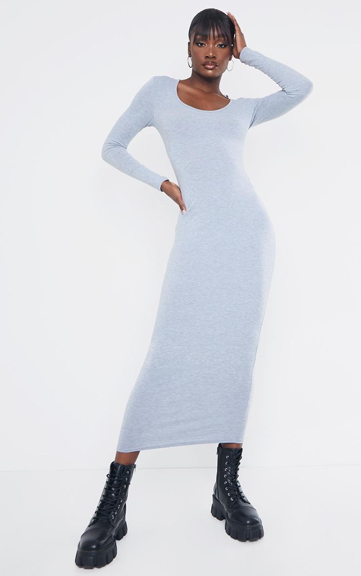 Tall - Robe longue en jersey gris chiné à manches longues 1