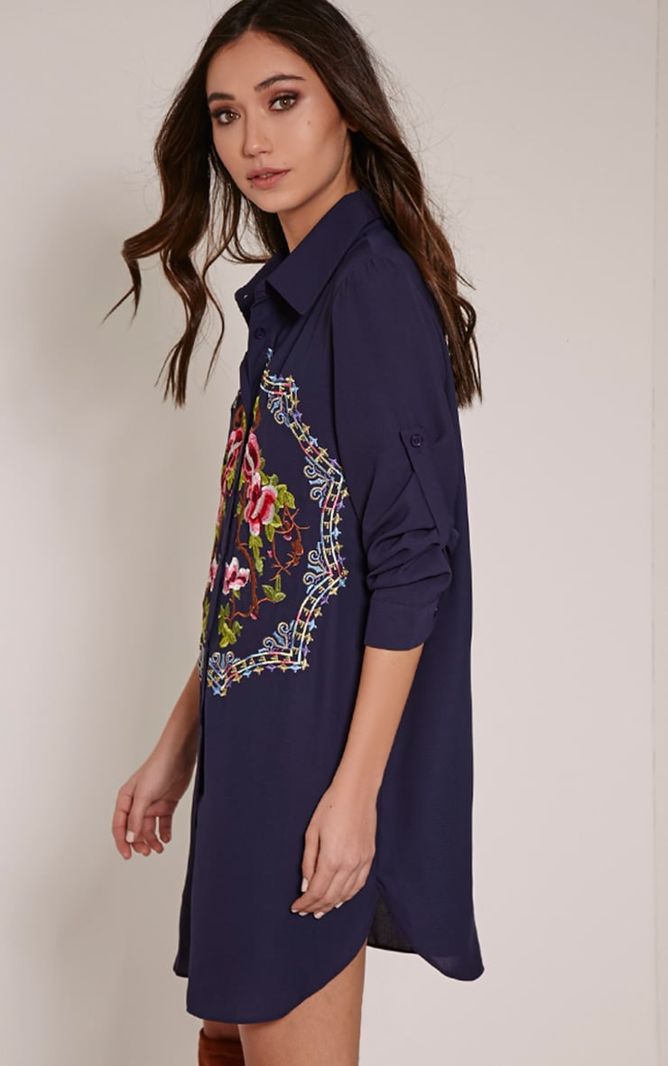 Jenna Navy Embroidered Sheer Shirt Dress 4