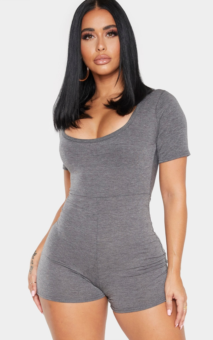 Shape Charcoal Short Sleeve Unitard 1