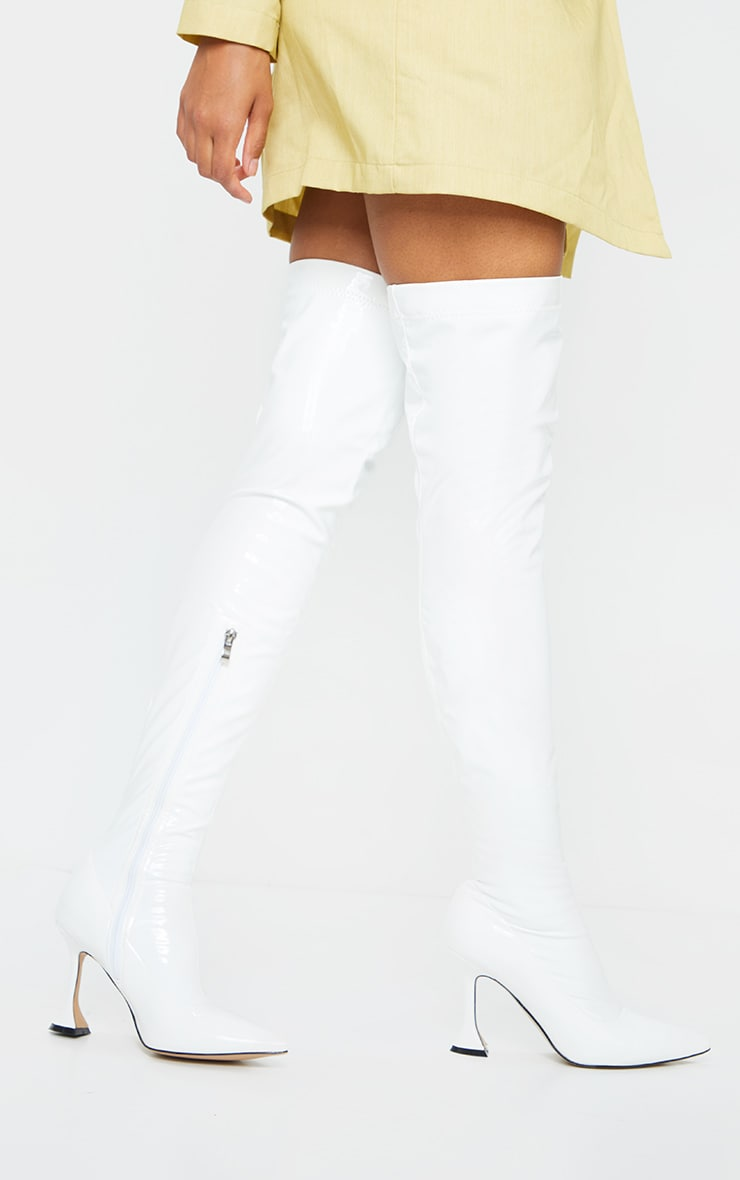 White Over The Knee Cake Stand Boots 2