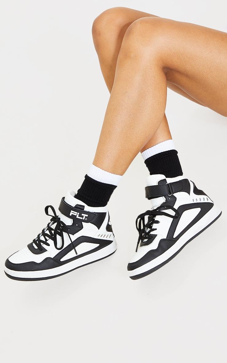 Black Two Tone Double Cuff Socks 2