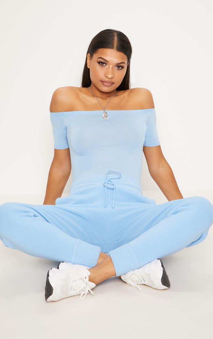 Aqua Blue Bardot Short Sleeve Bodysuit  5