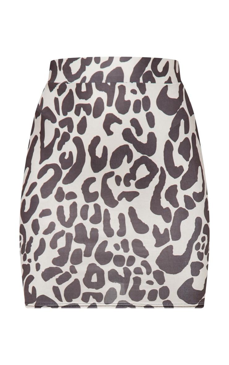 Black Leopard Print Ruched Seam Detail Mini Skirt 3