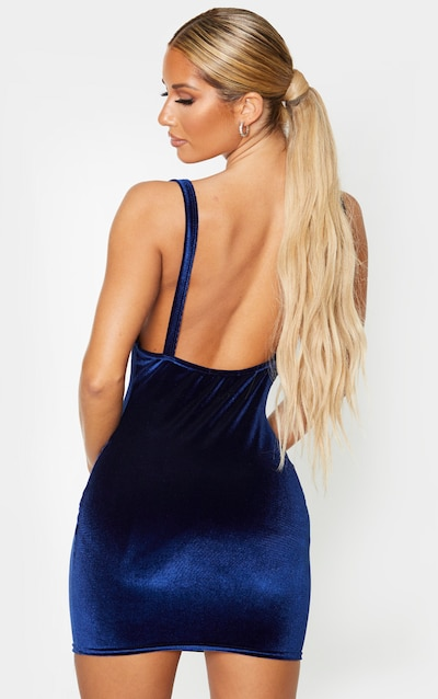 Navy Velvet Cowl Neck Bodycon Dress
