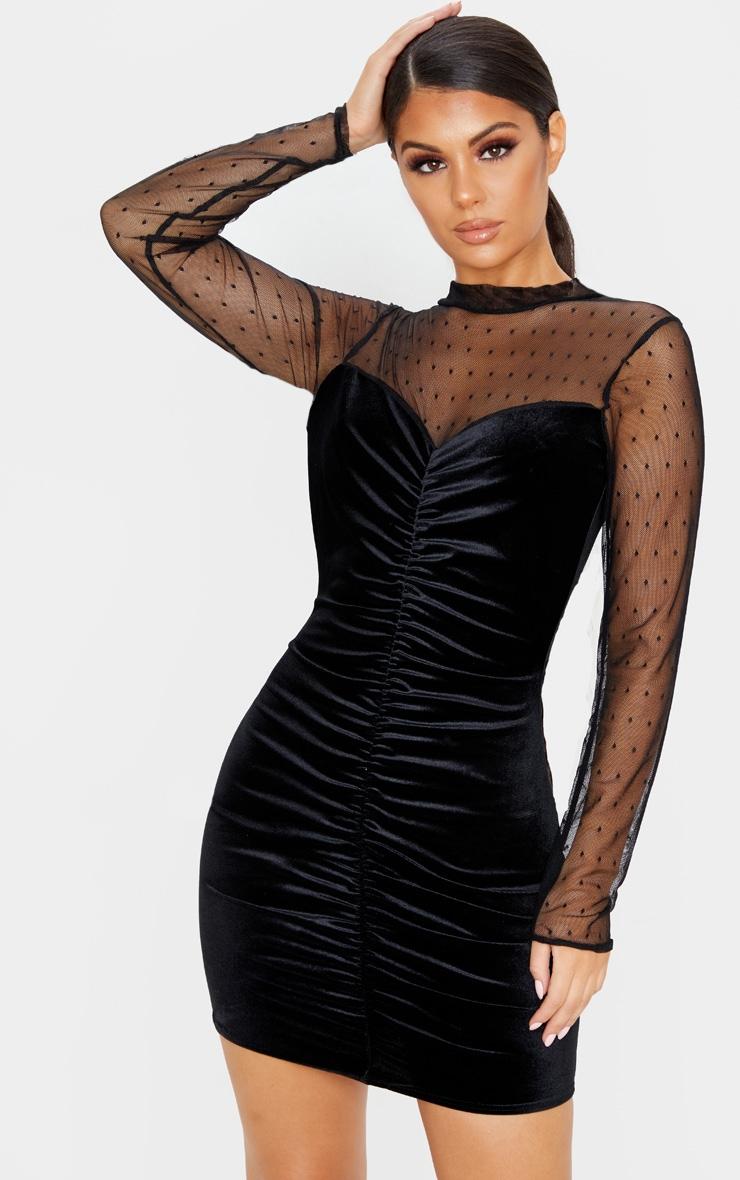 Black Velvet Dobby Mesh Bodice Long Sleeve Bodycon Dress 1