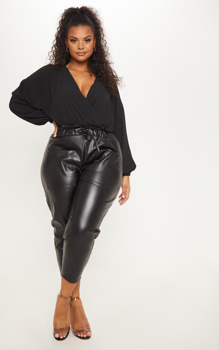 Plus Black Crepe Plunge Bodysuit 4