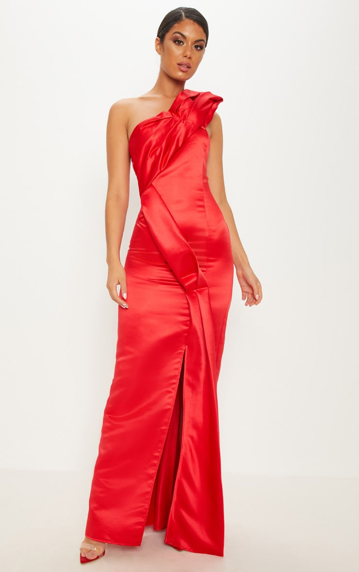 Red Bonded Satin Structured One Shoulder Maxi Dress