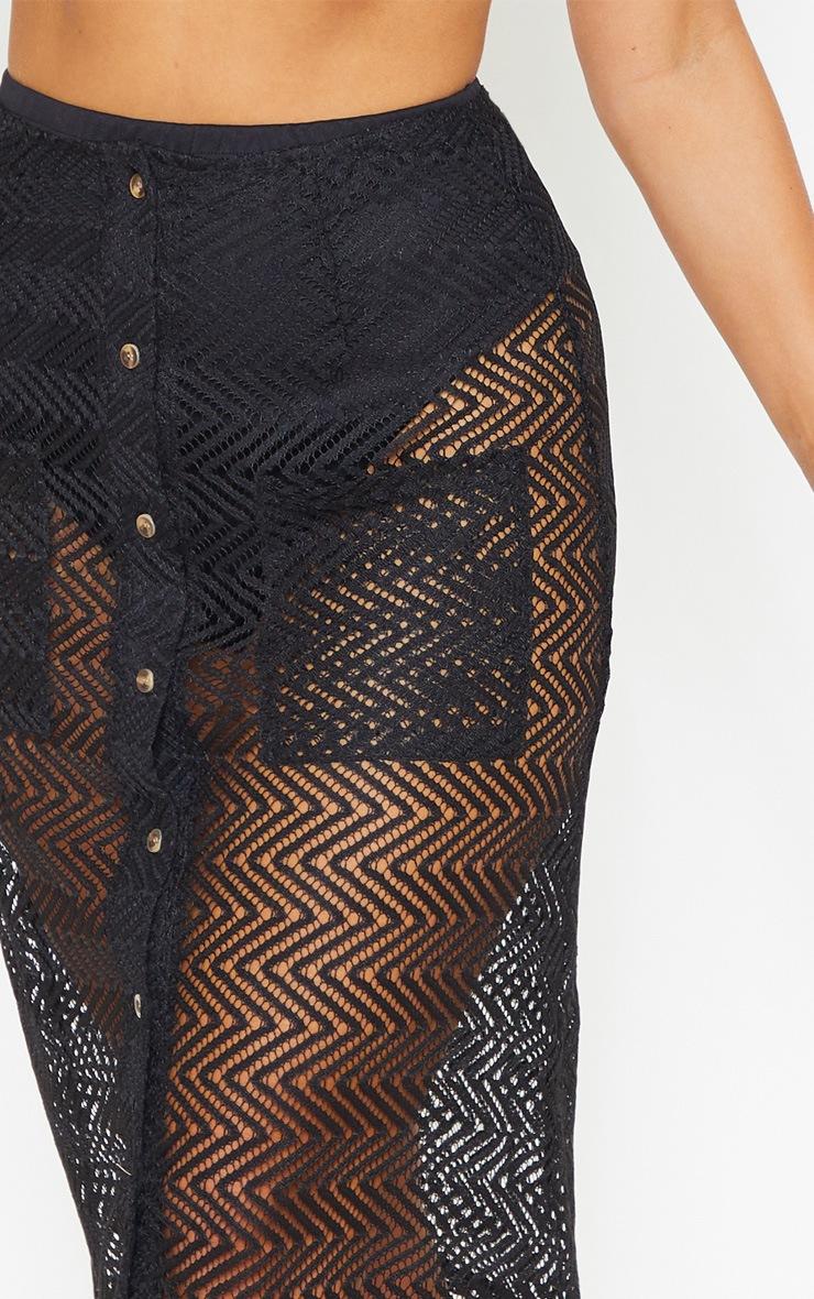 Black Crochet Button Front Midi Skirt 5