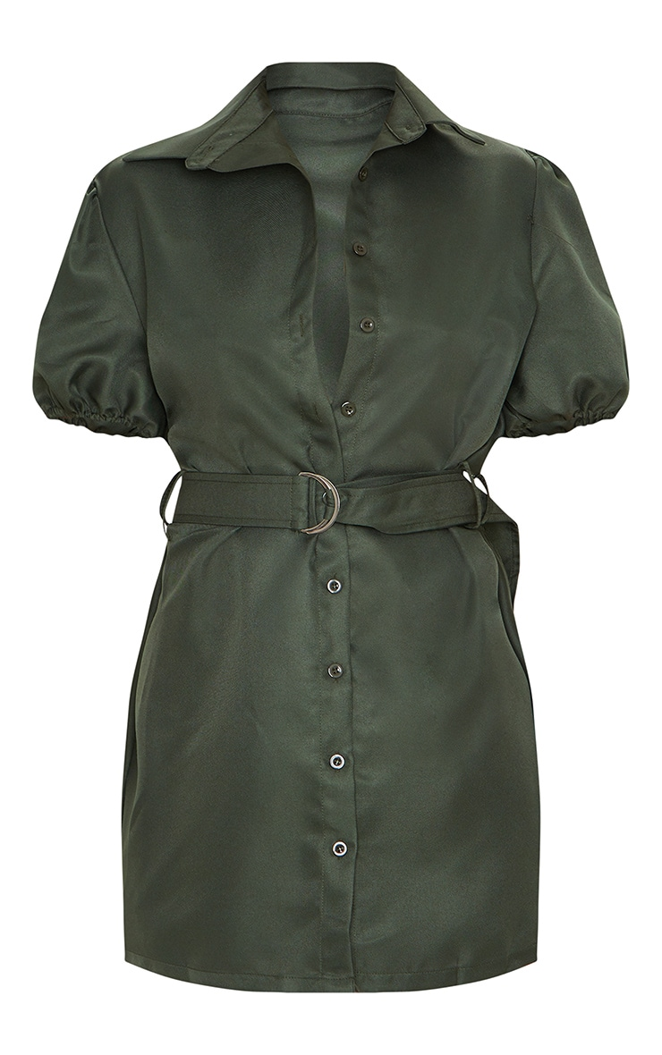 Khaki Puff Sleeve Belted Shirt Dress 5