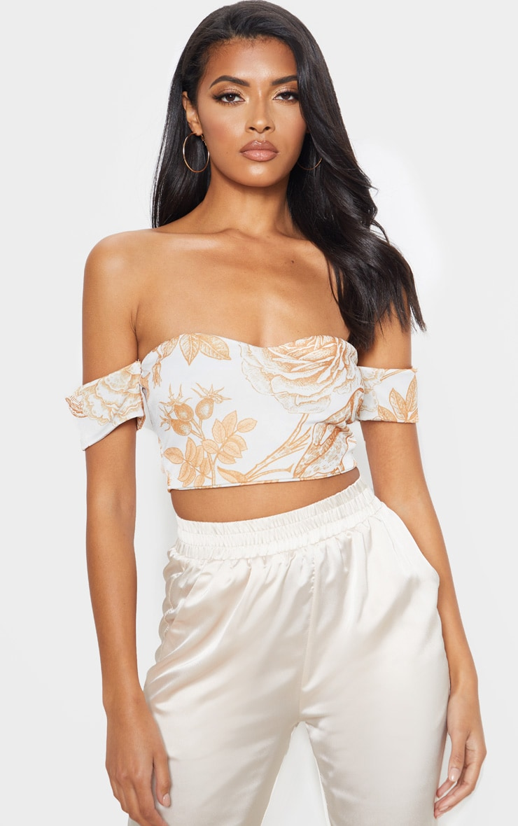 White Oriental Bardot Sweetheart Crop Top 1