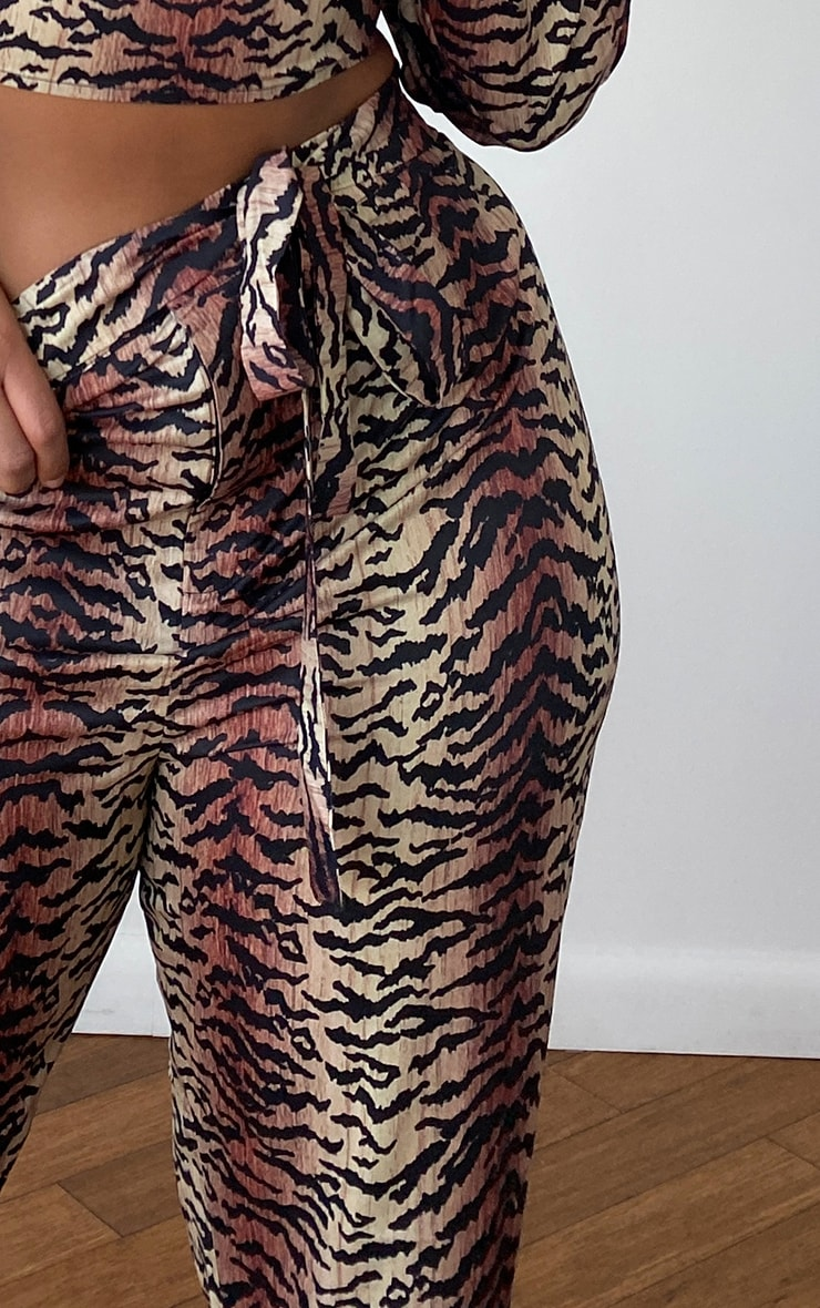 Plus Brown Tiger Print Straight Leg Pants 4