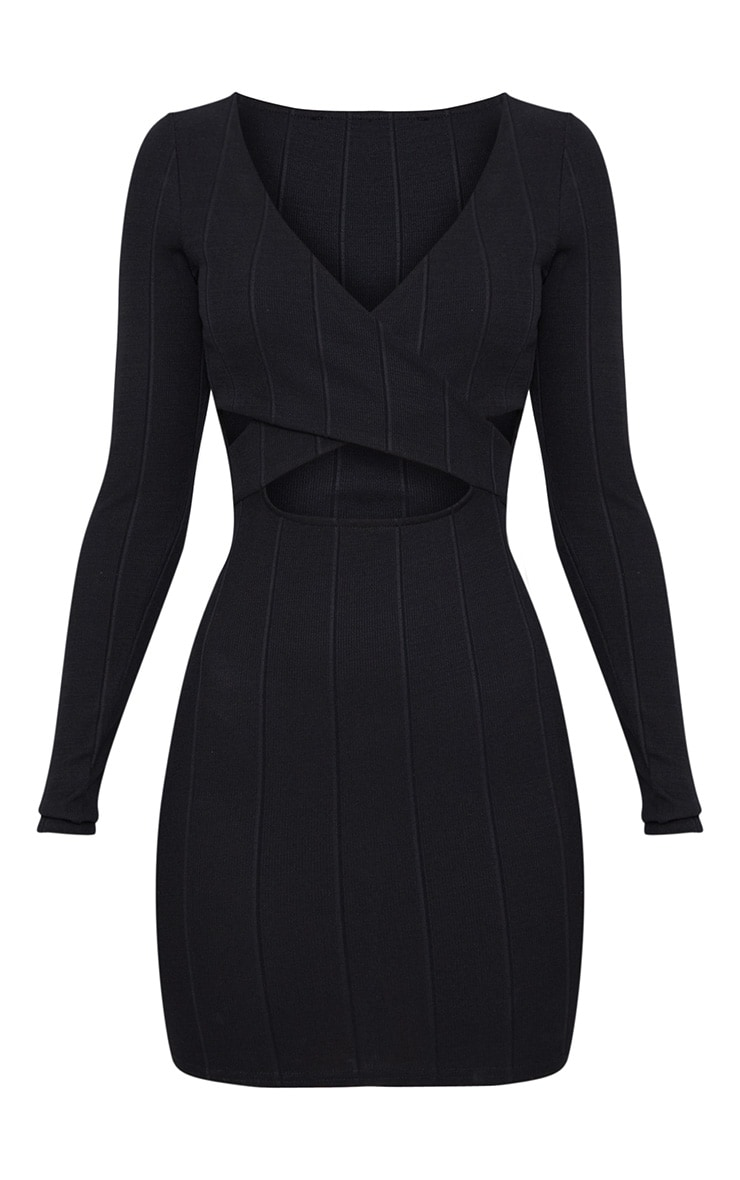 Black Bandage Cross Front Cut Out Detail Bodycon Dress 3