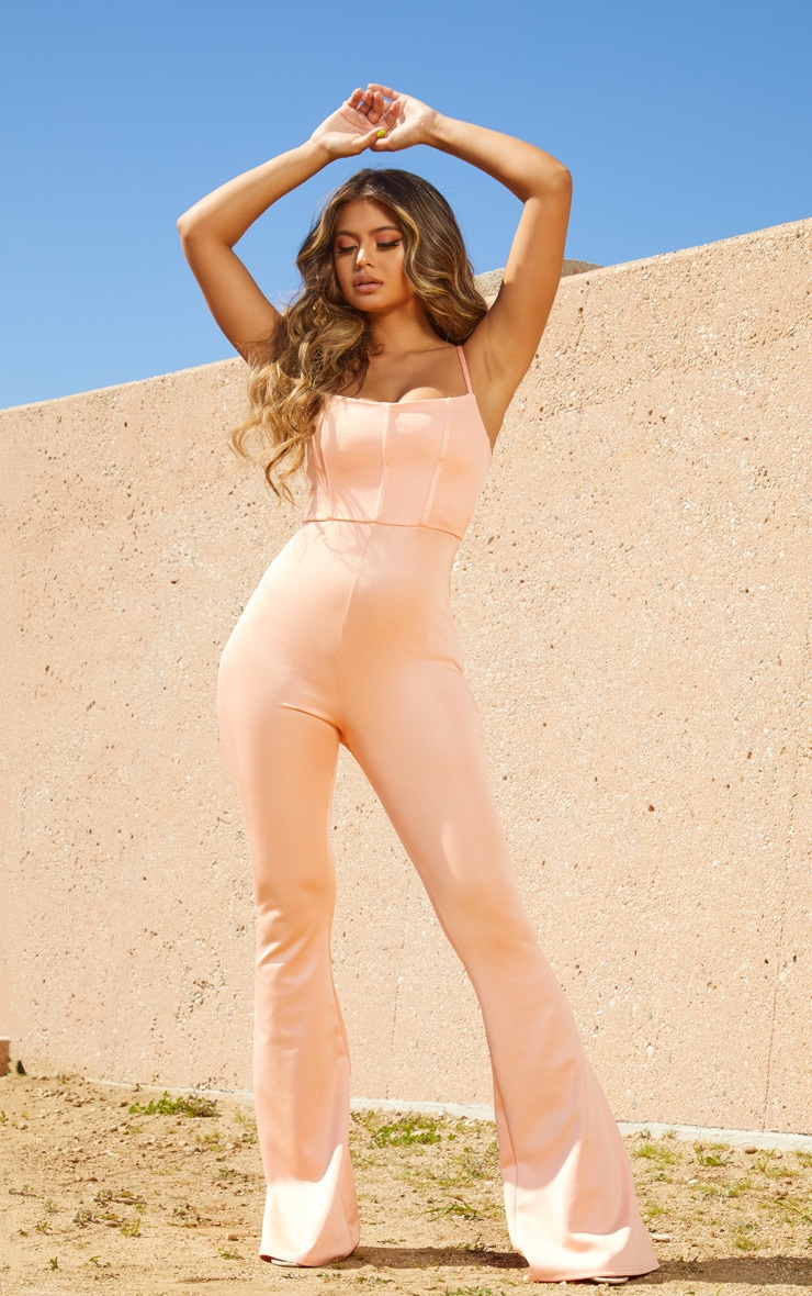Peach Second Skin Binding Detail Flare Leg Jumpsuit 1
