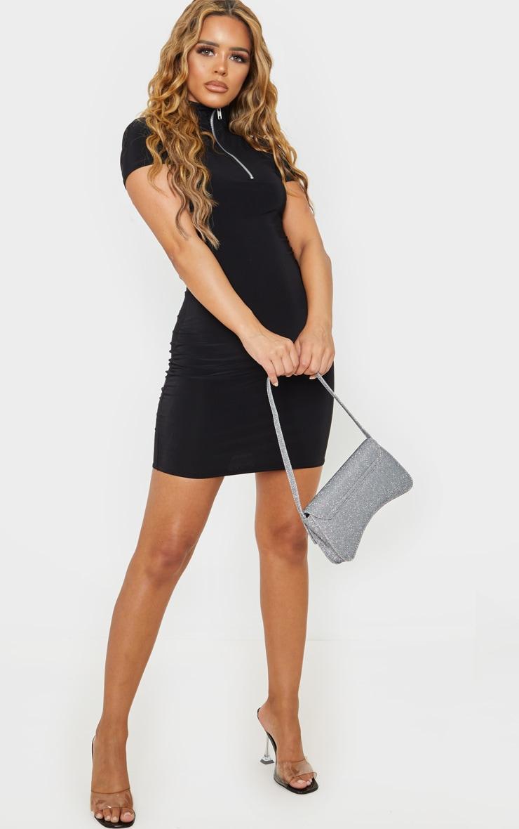 Petite Black Zip Detail Short Sleeve Slinky Mini Dress 4
