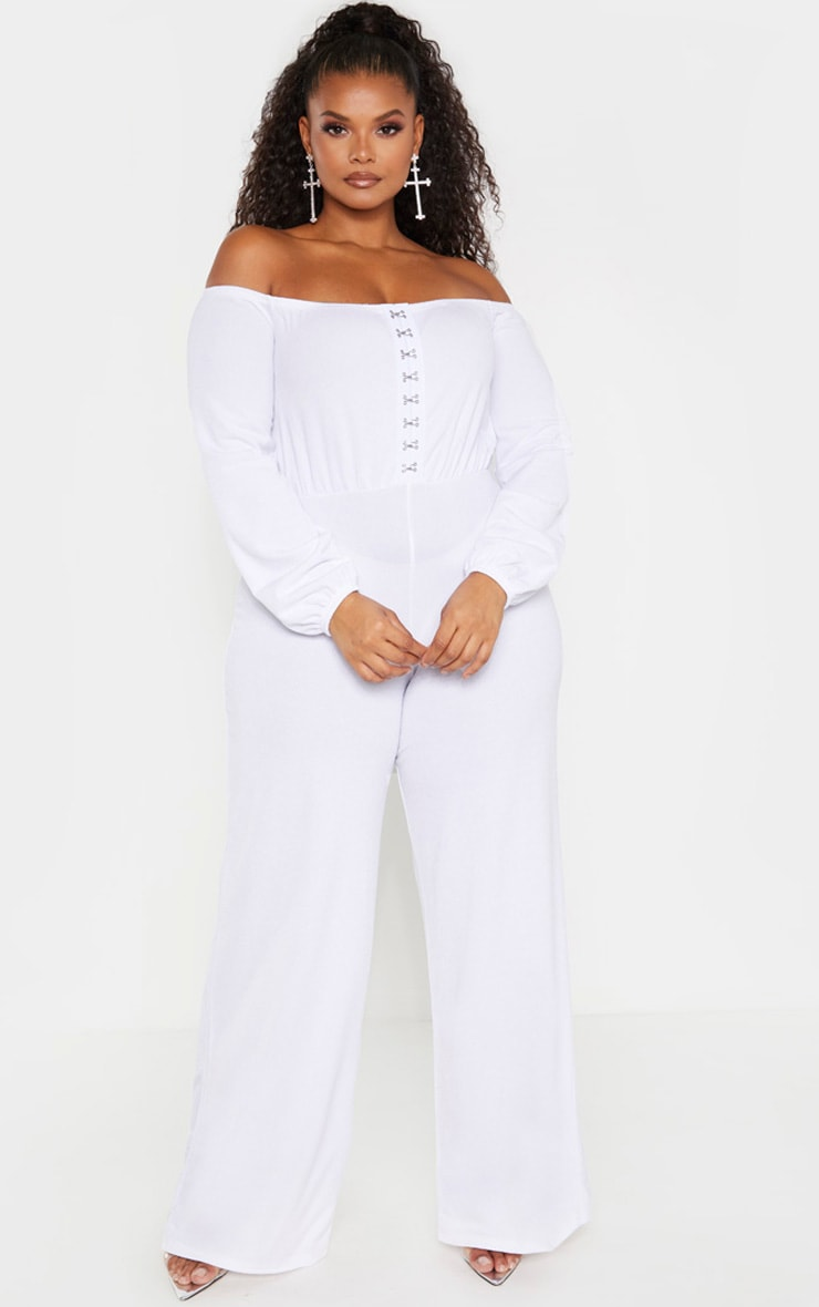 Plus White Eyelet Detail Wide Leg Jumpsuit  1