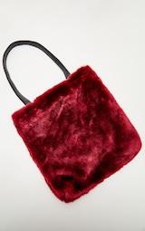 fb29ff09ca Burgundy Faux Fur Tote Bag image 2