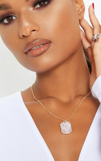 Gold Diamante Tag Necklace
