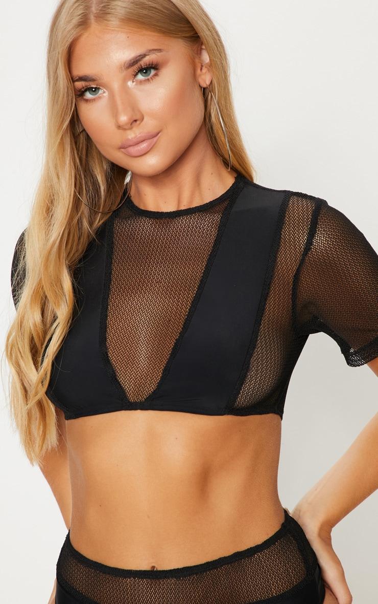 Black Minimal Cover Mesh Short Sleeve Bikini Top 5
