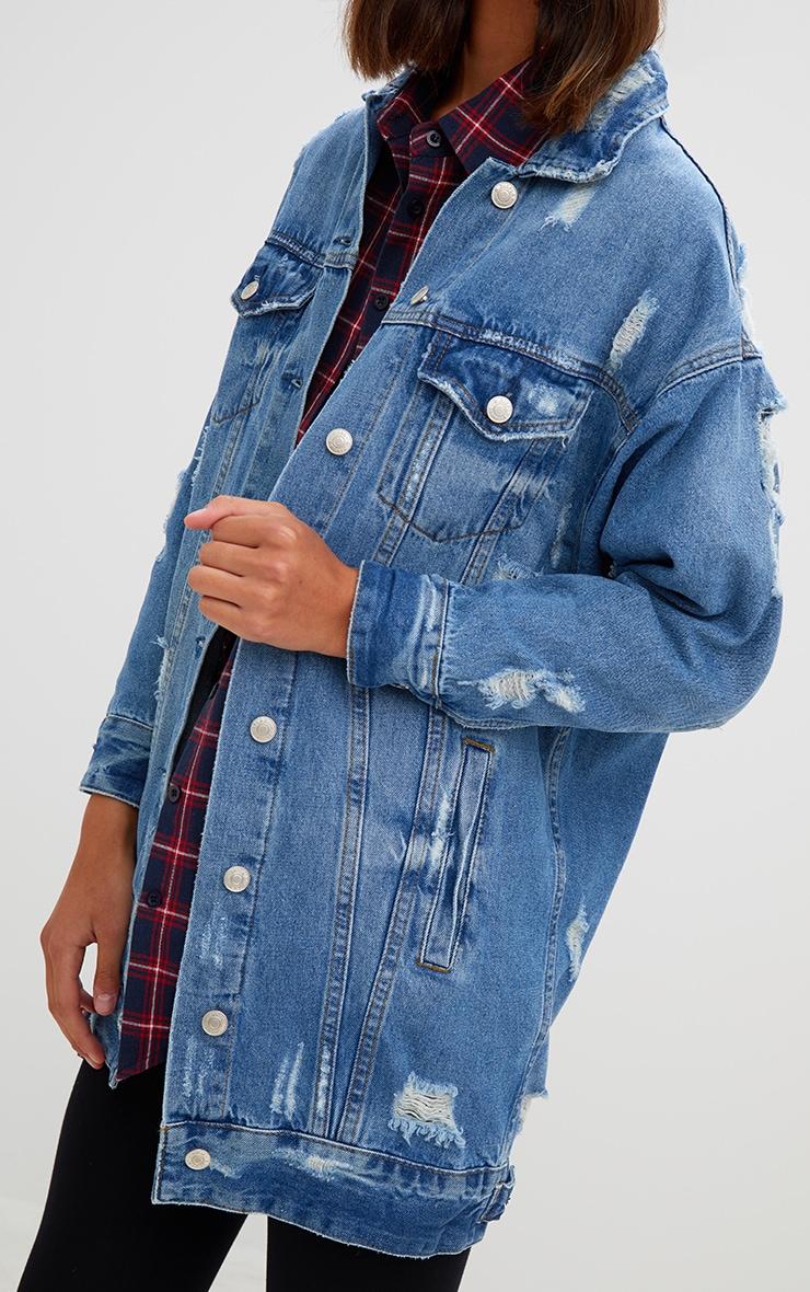 Camry Mid Wash Distressed Longline Denim Jacket 4