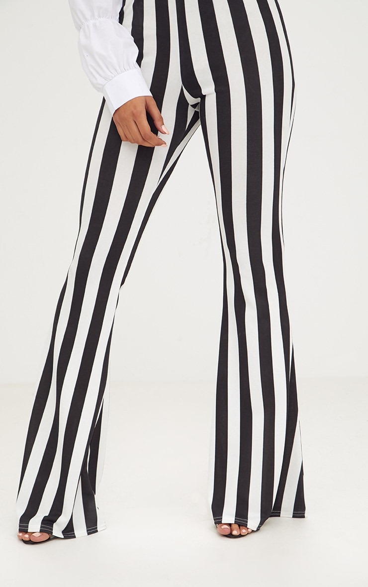 Monochrome Humbug Stripe Flared Trousers 5