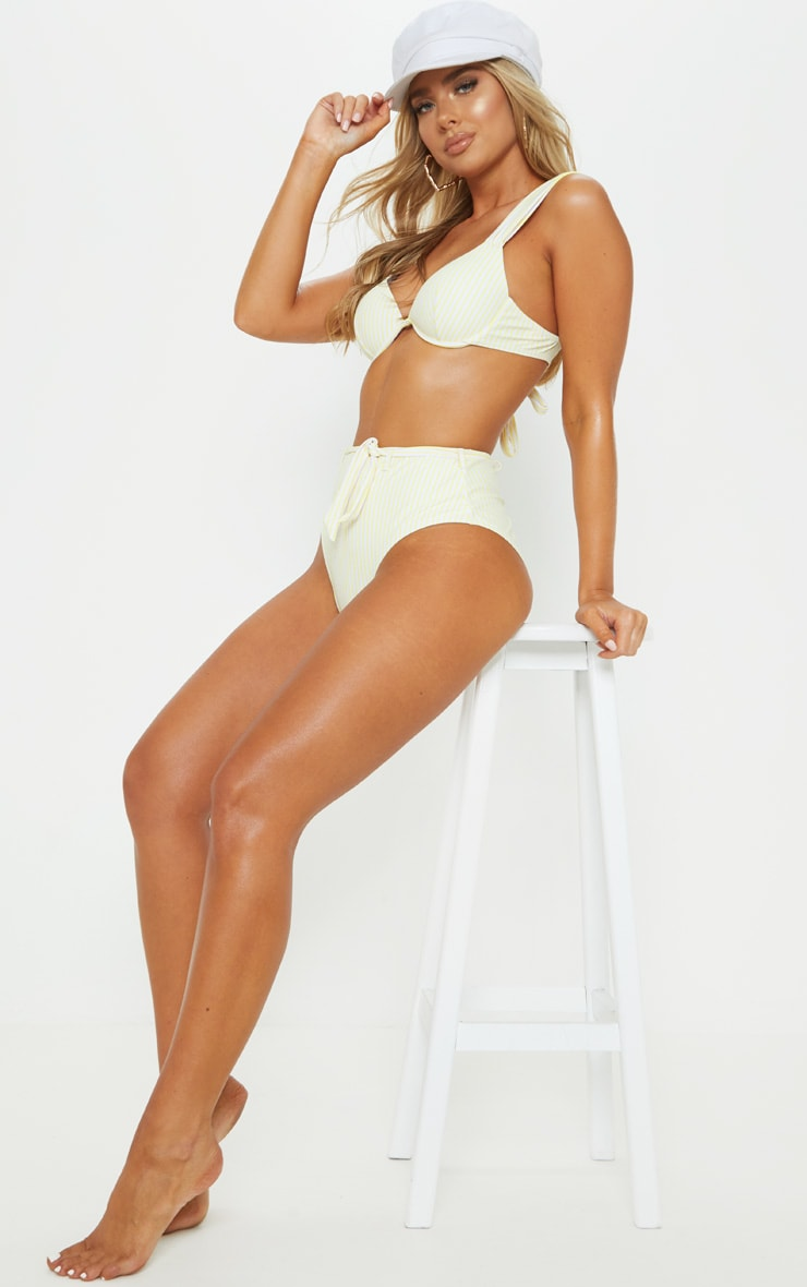 Yellow Stripe Belted Waist Bikini Bottom 5