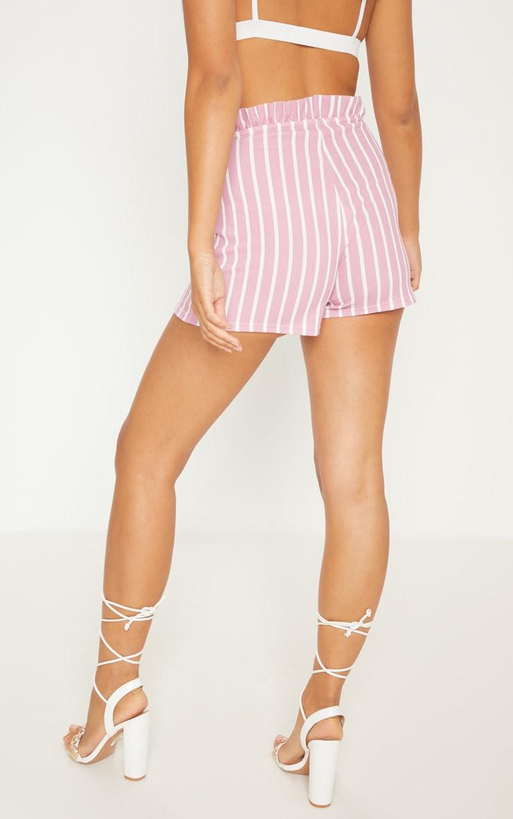 Pink Stripe Frill Detail Shorts 4