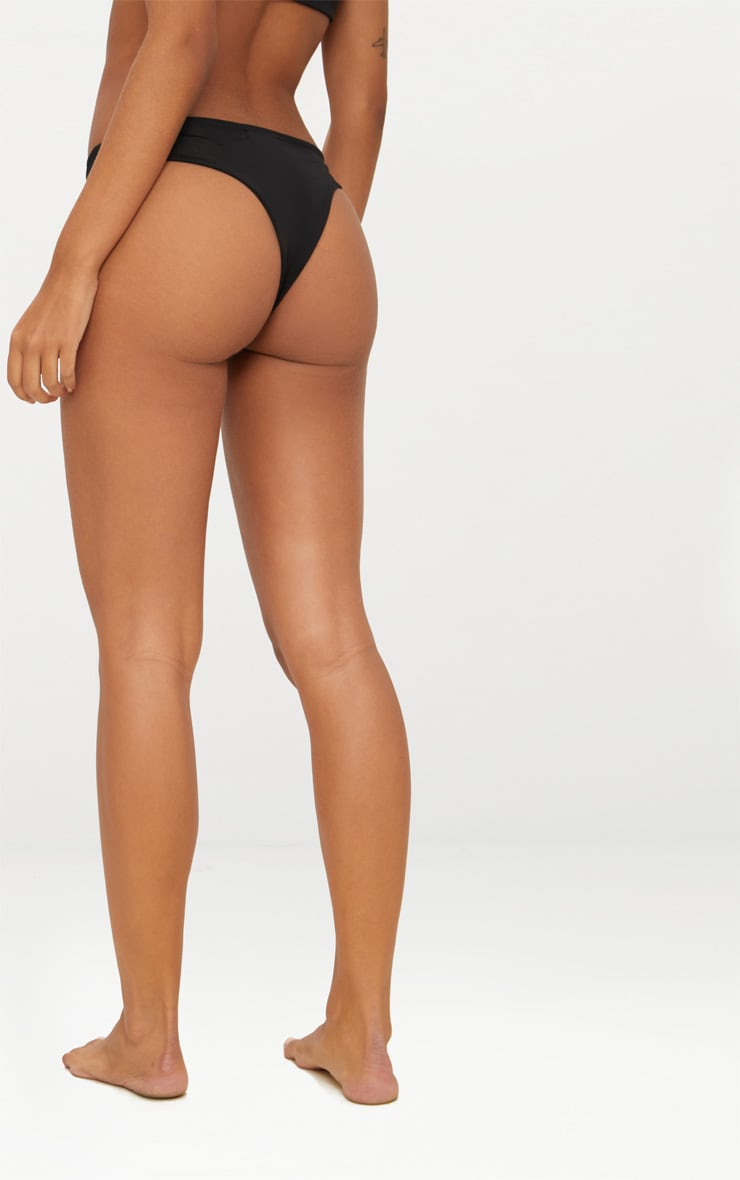 Black Top Strap Detail Bikini Bottoms 3